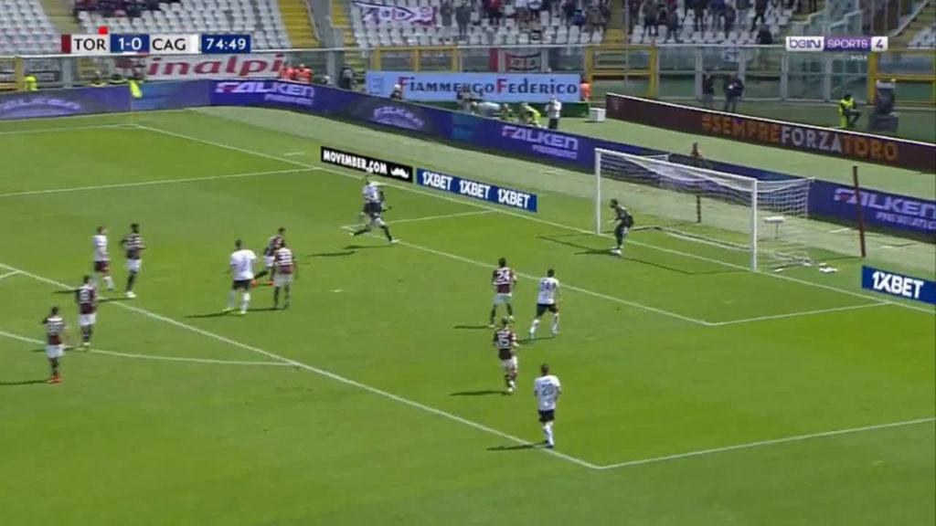 L'incornata di Pavoletti regala l'1-1 al Cagliari.