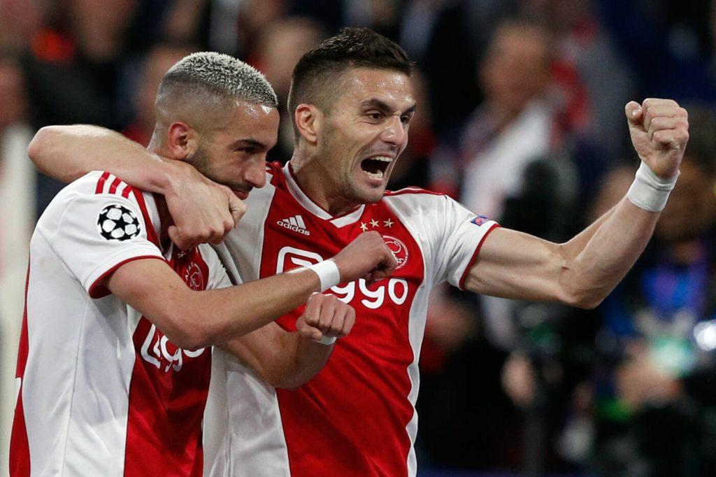 Ziyech e tadic esultano per il 2a0 dell'Ajax. Tottenham è Finale! Lucas&Co. eliminano 2a3 l'Ajax delle meraviglie.