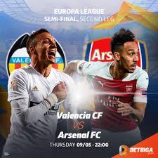 Valencia-Arsenal, ritorno delle semi finali di Europa League.