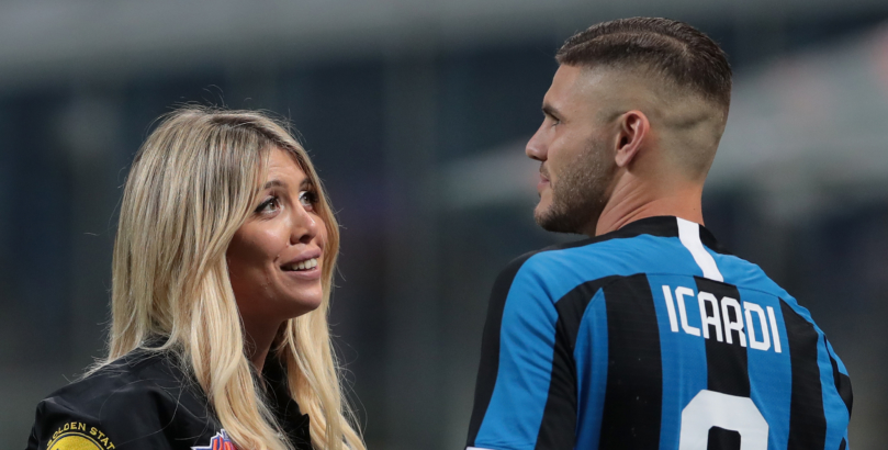 Mauro Icardi parla con la mogli ed agente Wanda Nara. Dzeko e Icardi due giganti a confronto
