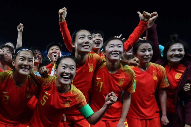 L'esultanza a fine gara della ragazze Cinesi.