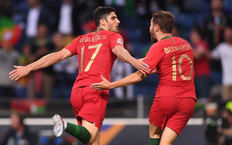 Guedes realizza il goal del vantaggio portoghese