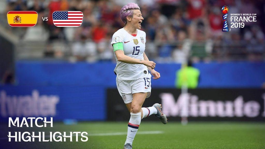 La Rapinoe, capitana degli USA, con la sua doppietta dagli 11 metri porta lei e le sue compagne ai quarti di finale; ottavo di finale: Spagna-USA.