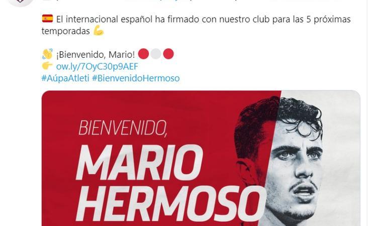 L'Atletico Madrid ha recentemente annunciato l'acquisto di Mario Hermoso