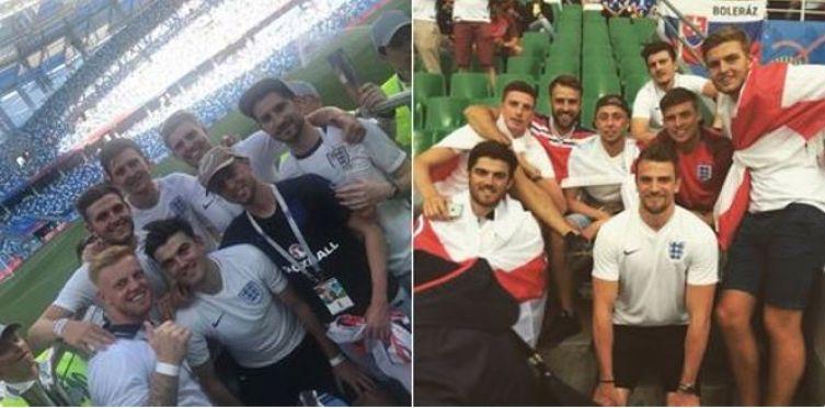 Maguire, con alcuni amici, sostiene la nazionale inglese come tifoso, durante gli europei 2016