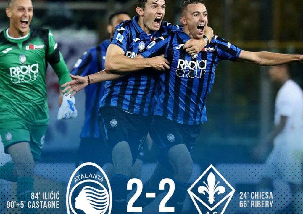 Castagne rincorso dai compagni di squadra regala con un magnifico gol il pareggio al 95° all'Atalanta. Atalanta-Fiorentina 2-2.