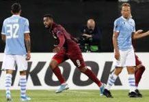 Omrani colpisce la Lazio dopo aver colpito traversa e palo nella stessa azione e porta avanti il Cluj