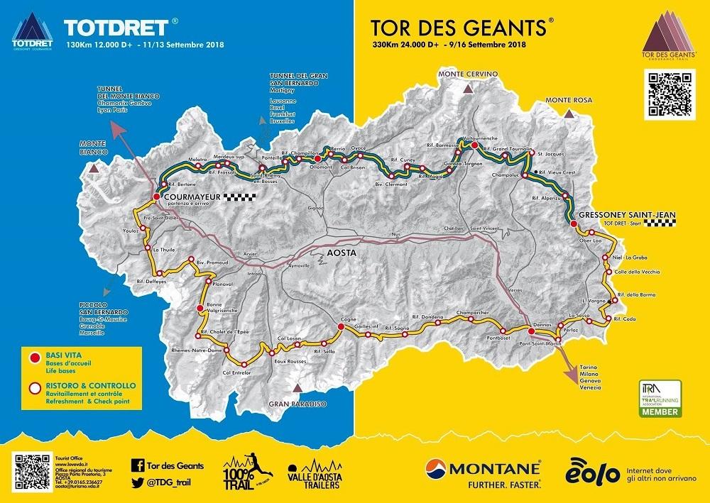 Il percorso del Tor des Géants.