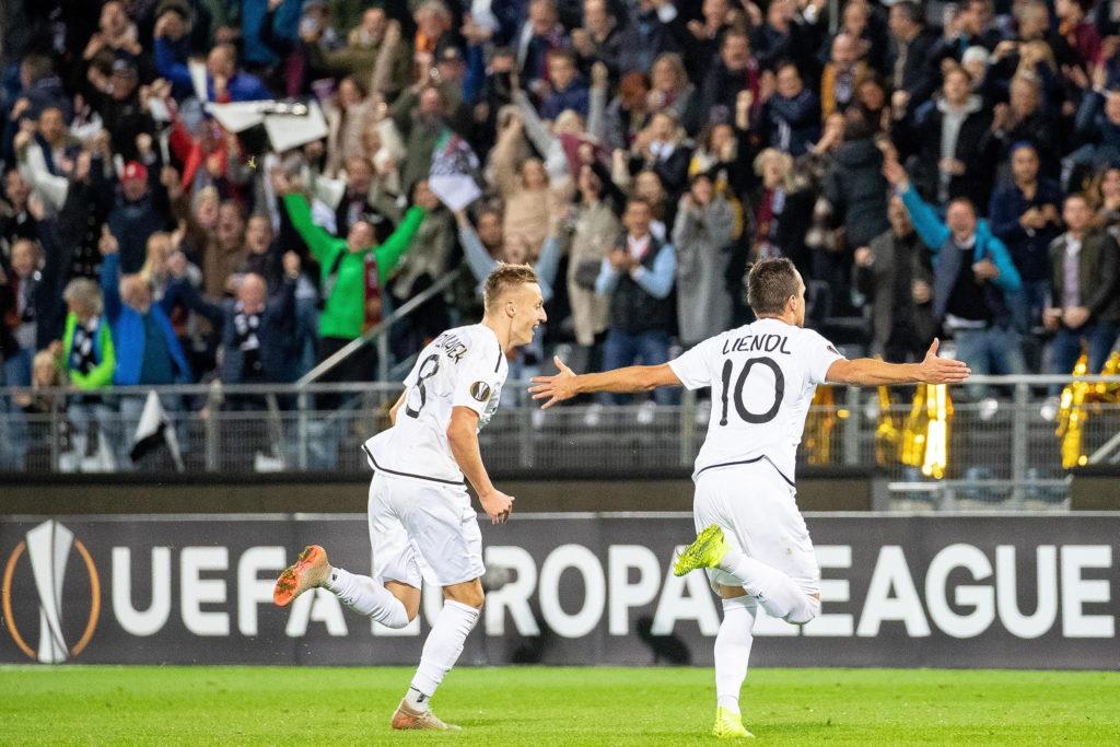"""La Roma """"B"""" non convince, 1a1 in Europa League contro il Wolfsberg. Esultanza dei padroni di casa per il gol del pareggio."""