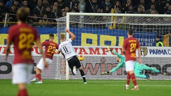 il gol che sancisce la fine del match è realizzato da Cornelius al minuto 90+3. Parma Roma 2-0.