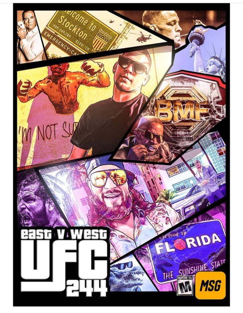 UFC 244 - Masvidal Vs Diaz poster sullo stile del videogioco GTA