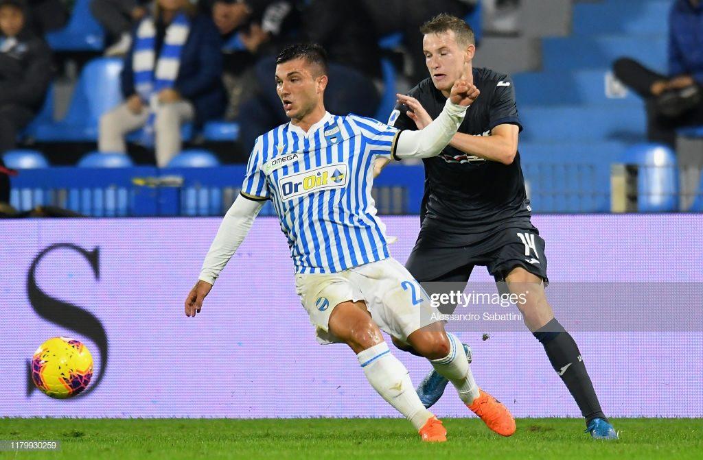 Strefezza, sicuramente il più pericoloso dei suoi nei primi 45 minuti; Spal-Sampdoria 0-0.