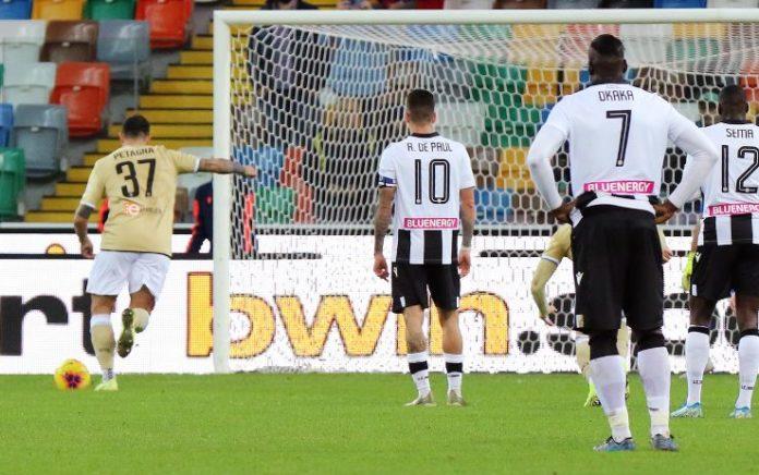 Il rigore parato da Musso a Petagna in Udinese-Spal 0-0; probabili formazioni di Inter-Spal.