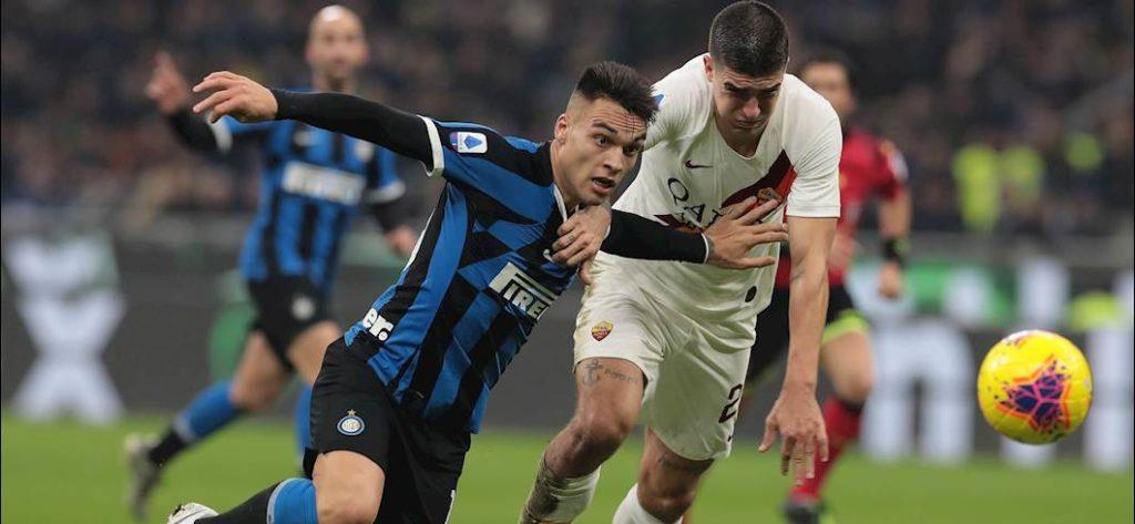 uno dei principali duelli della serata, Lautaro Martinez e Gianluca Mancini