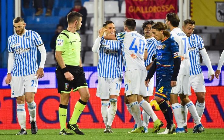 Spal, giocatori in festa dopo il 3 - 0 contro il Lecce in Coppa Italia, Spal - Milan
