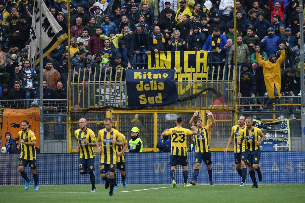Juve Stabia esulta dopo il gol del 1 - 0 contro il Benevento, Frosinone - Juve Stabia