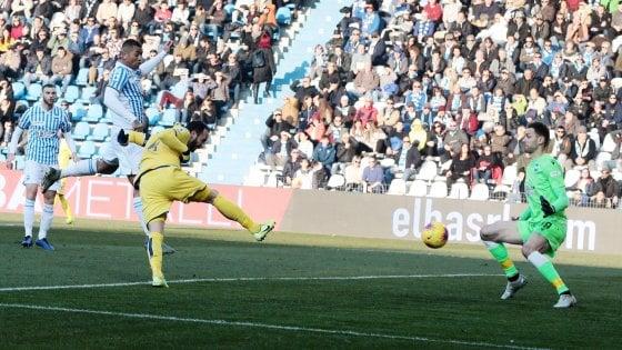 Brescia - Hellas Verona, Giampolo Pazzini in gol contro la Spal