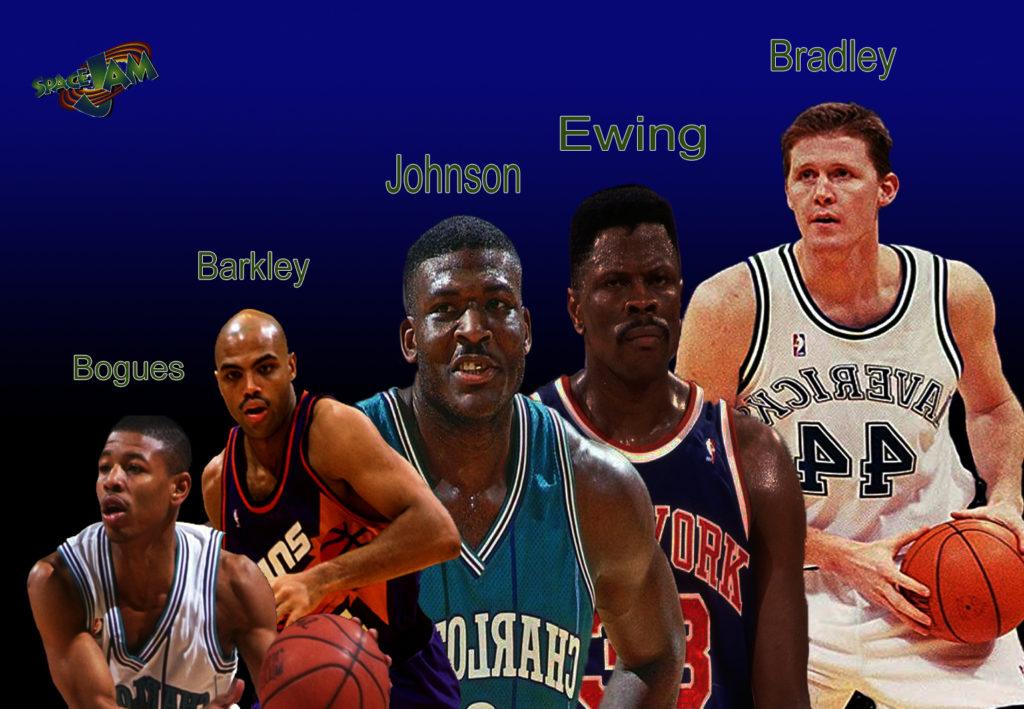Da sinistra Muggsy Bogues, Charles Barkley, Larry Johnson, Patrick Ewing e Shawn Bradley.