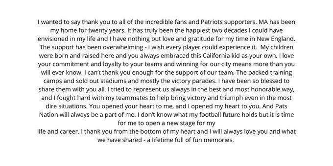 Il messaggio, rivolto ai tifosi, con cui Tom Brady ha annunciato il suo addio ai Patriots.