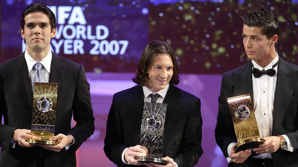 Kakà, Lionel Messi e Cristiano Ronaldo