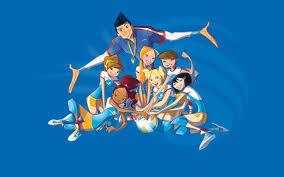 Andrea Lucchetta nella versione cartoon dell'allenatore Lucky e le ragazze dello Spike Team.
