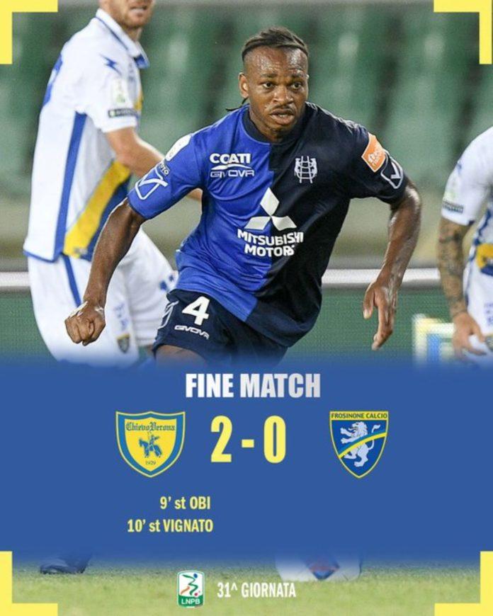 Nel match della 31a giornata di Serie B il Chievo ha vinto 2-0 contro il Frosinone.