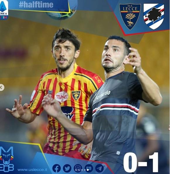 La Sampdoria chiude in vantaggio il primo tempo per 0-1.