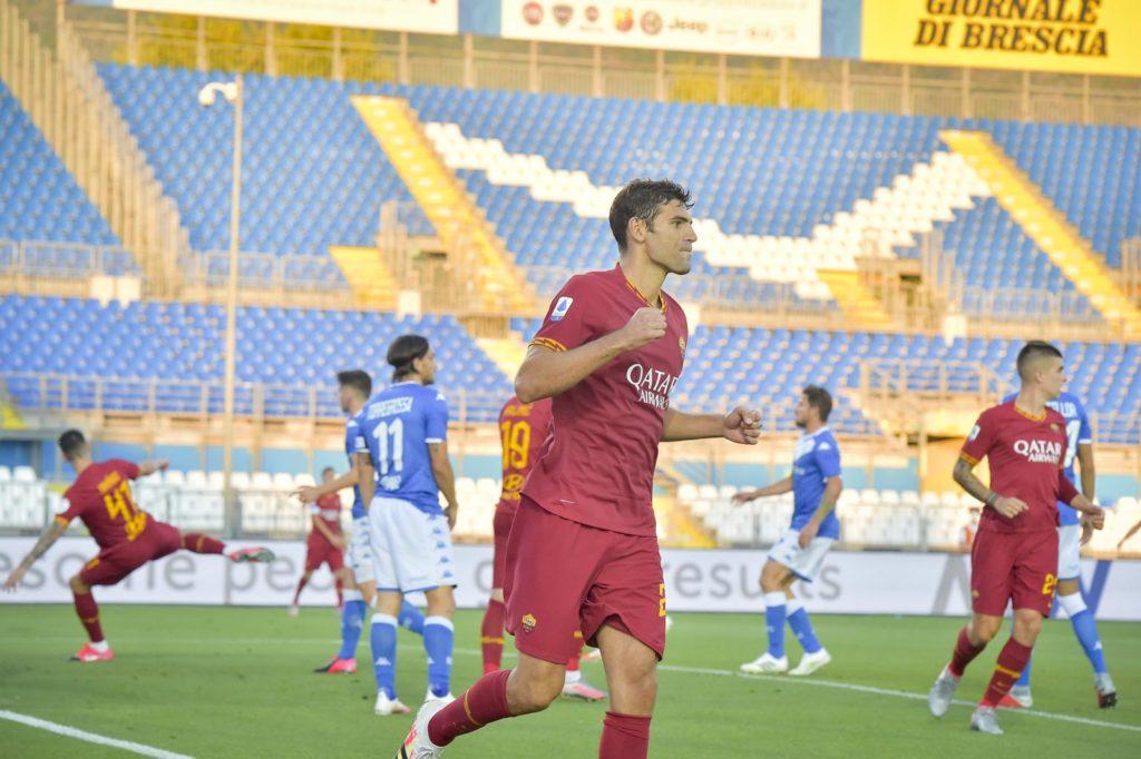 Brescia-Roma: gol di Fazio