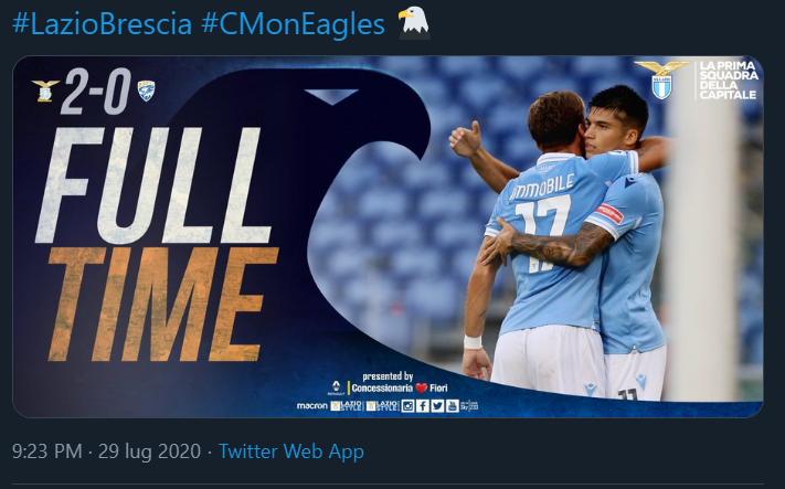 Lazio-Brescia 2-0: tabellino e marcatori | Serie A 19/20