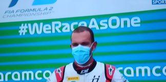 Luca Ghiotto dopo aver vinto la Sprint Race di Budapest