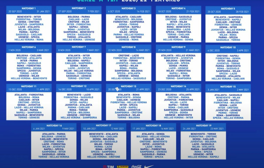 Calendario Serie A 2020/2021   PeriodicoDaily Sport