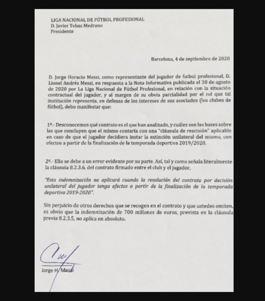 Lionel Messi - Il comunicato del padre