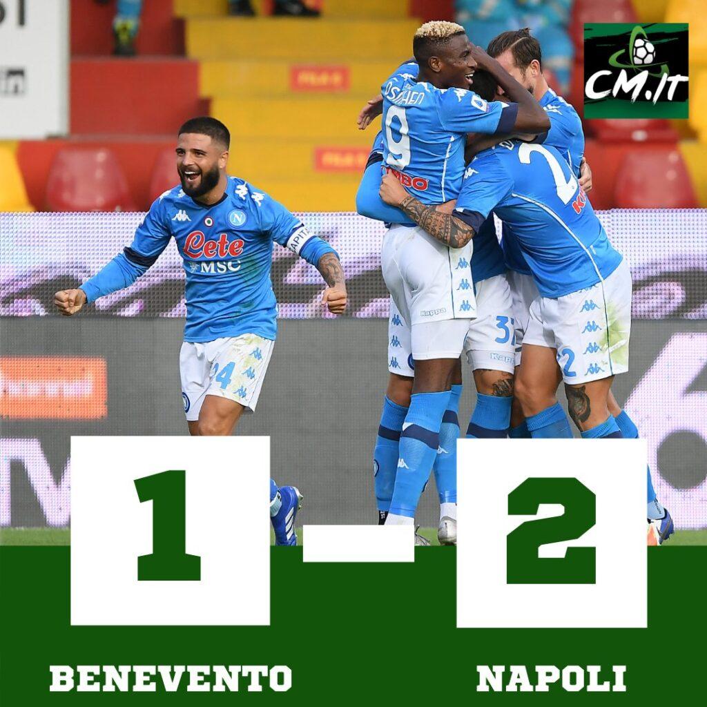 Benevento Napoli 1 2: gli azzurri vincono in rimonta