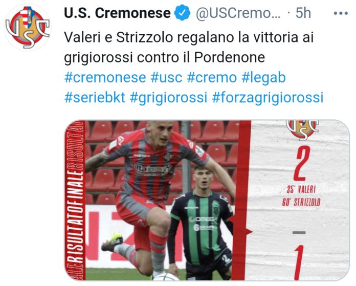 Cremonese-Pordenone 2-1