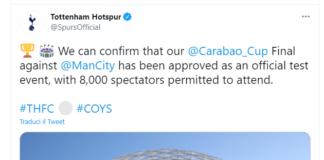 Inghilterra, finale Carabao Cup sarà test per rientro tifosi