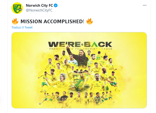 Norwich City, ufficiale il ritorno in Premier