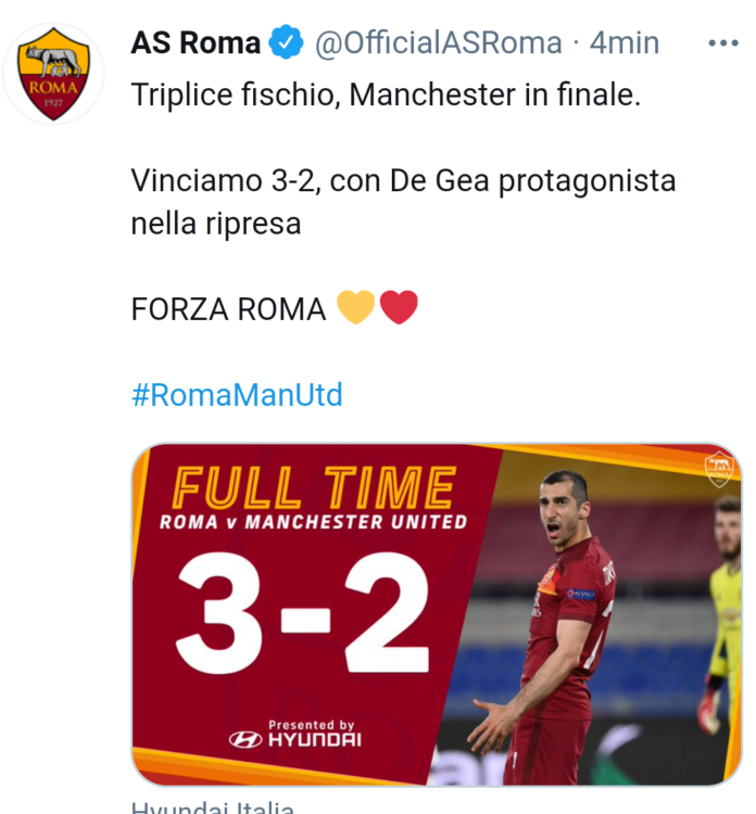 Roma-Manchester United 3-2