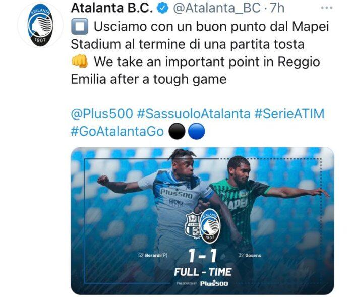 Sassuolo-Atalanta 1-1